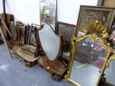 A GILT FRAME ROCCOCO WALL MIRROR AND VARIOUS OTHER MIRRORS FOR RESTORATION (QTY)