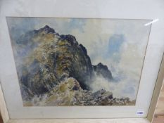 ERIC G HALL (20TH CENTURY) ARR. SCAFELL, SIGNED WATERCOLOUR, 36 x 29cm