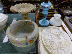 A TURQUOISE GLASS OIL LAMP, GLASS CEILING LIGHT SHADE, BOOKS AND AN ALABASTER STANDING BOWL