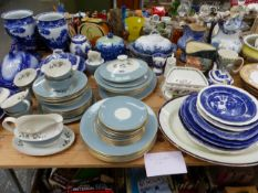 A DOULTON ROSE ELEGANS PART SERVICE, BLUE AND WHITE WARES, DOULTON SERIES WARE BOWLS, A CHARACTER