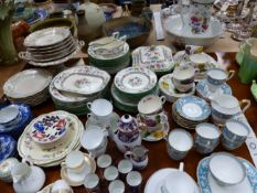COPELAND CHINESE ROSE DINNER WARES, VARIOUS TEA AND COFFEE CUPS TOGETHER WITH A VICTORIAN POTTERY