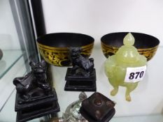 A PAIR OF FOO LION FIGURES, A GREEN HARDSTONE KORO, AN A PAIR OF EASTERN GILT BOWLS.