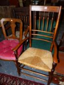 TWO 19TH CENTURY ARMCHAIRS TOGETHER WITH A VICTORIAN NURSING CHAIR AND A DINING CHAIR (4)