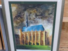 AFTER JOHN PIPER. A COLOUR PRINT OF EXETER COLLEGE CHAPEL, OXFORD, 65 x 45cms, TOGETHER WITH THREE
