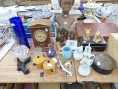 A WOODEN BUST, A CLOCK, JIGSAW PUZZLES TOGETHER WITH CERAMICS