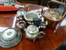 A VICTORIAN COPPER KETTLE, A SERPENTINE STONE CASED WALL BAROMETER AND VARIOUS PLATED WARES.