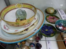 FOUR MOORCROFT WARES, A PLATTER, A GLASS PAPERWEIGHT, A BOWL AND OTHER WARES