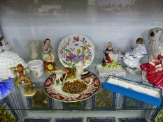 STAFFORDSHIRE, DOULTON AND HUMMELL FIGURES TOGETHER WITH PLATES AND JUGS