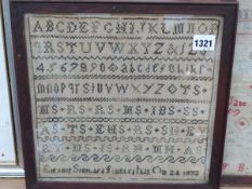 TWO EARLY 19TH CENTURY NEEDLEWORK ALPHABET SAMPLERS DATED 1821 AND 1832