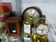 A LEATHER CASED CARRIAGE TIMEPIECE TOGETHER WITH TWO OTHER CLOCKS