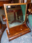 A WILLIAM IV MAHOGANY SWING DRESSING TABLE MIRROR WITH TWO DRAWER BASE