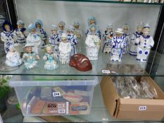 ANTIQUE AND LATER NODDING FIGURINES AND A MASK OF A GENTLEMAN