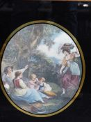 A SET OF FOUR OVAL HAND COLOURED PRINTS IN EGLOMISE FRAMES. THE TIMES OF DAY. TOGETHER WITH A