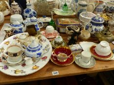 CHINA WARES TO INCLUDE PORT MEIRION, BLUE AND WHITE WARE, AYNSLEY, A BRASS CENSER, ETC