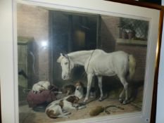 """AFTER SIR EDWIN LANDSEER. A LARGE HAND COLOURED FOLIO PRINT. TITLED """"THE COVER HACK"""". 66 x 82cms"""