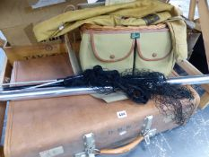 VARIOUS CASED FISHING FLYS, A HARDY FISHING ROD IN STEEL TUBE AND CLOTH CASE, A REVIOLATION