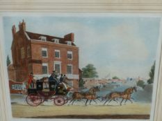AFTER J. POLLARD. A HAND COLOURED COACHING PRINT. QUICK SILVER, ROYAL MAIL. 39 x 46cms TOGETHER WITH