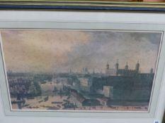 TWO COLOUR PRINTS OF VINTAGE LONDON VIEWS 37.5 x 60cms