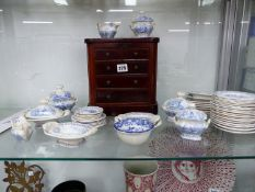 A QUANTITY OF BLUE AND WHITE DOLLS TEAWARES AND A MINIATURE CHEST OF DRAWS