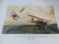 AFTER RICHARD CARVANA. SIX PENCIL SIGNED LIMITED EDITION COLOUR PRINTS OF WWI AVIATION DOG FIGHTS.