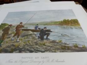AFTER R.M. ALEXANDER. SEVERAL SETS OF FOUR HAND COLOURED PRINTS OF FISHING SCENES. ALL UNMOUNTED AND