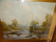 J.B NOEL (19th/20th SCHOOL) A RIVER VIEW, SIGNED WATERCOLOUR 40 x 50cms TOGETHER WITH FOUR