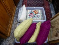 A QUANTITY OF VARIOUS CUSHIONS.