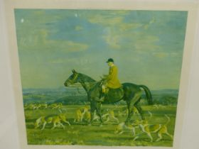 """A LIMITED EDITION SIGNED COLOUR PRINT AFTER A.J MUNNINGS, """"THE PYTCHLEY HUNTSMAN"""" 66 x 74cms"""
