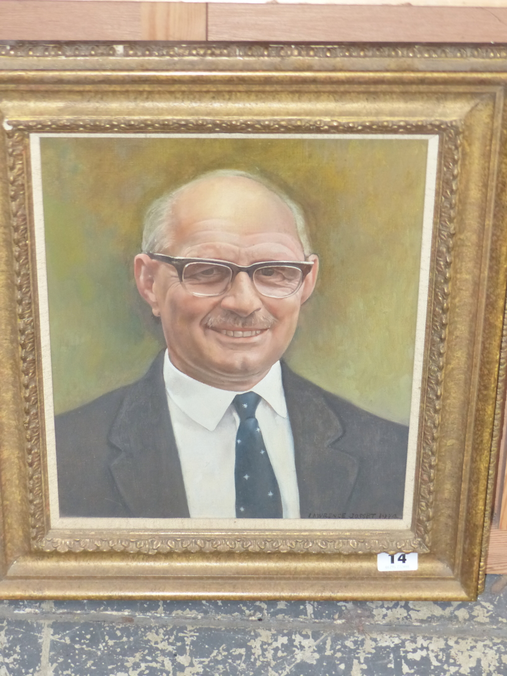 LAWRENCE JOSSET (1910-1995) PORTRAIT OF MR LING. SIGNED AND DATED. OIL ON CANVAS. 33 x 28cms - Image 2 of 4
