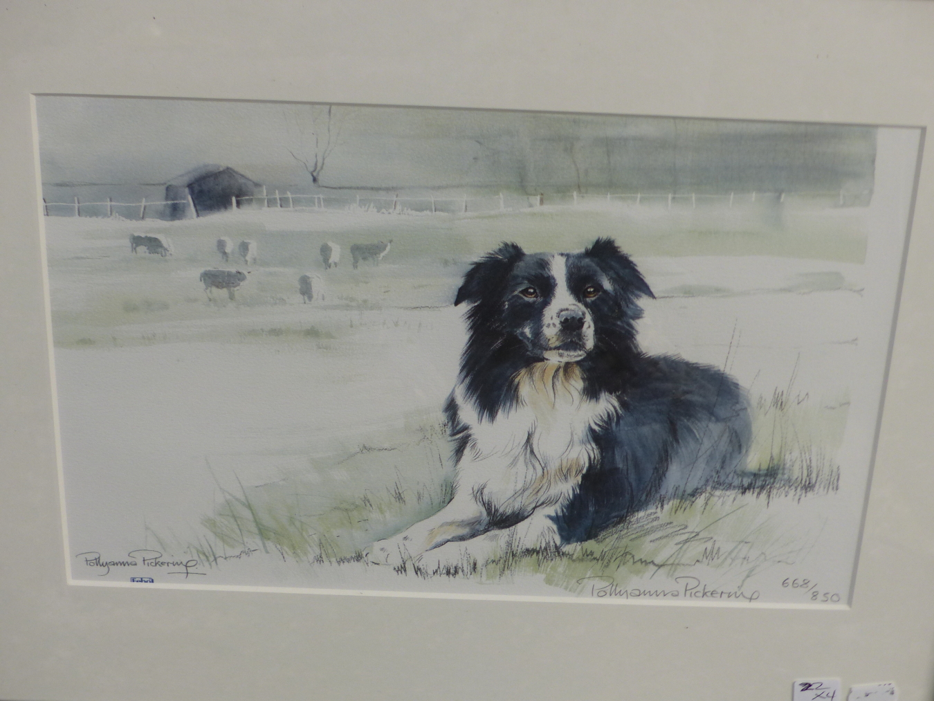 HENRY WILKINSON. THREE PENCIL SIGNED COLOUR ETCHINGS OF DOGS. TOGETHER WITH A PENCIL SIGNED - Image 5 of 7