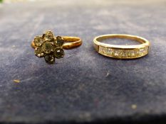 A 9ct YELLOW GOLD HALLMARKED CHANNEL SET HALF ETERNITY RING TOGETHER WITH ROLLED GOLD VINTAGE