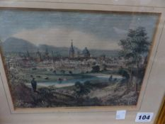 """AN ANTIQUE AND COLOURED PRINT. """"VIEW OF OXFORD FROM THE ABINGDON ROAD"""". 16 x 20cms"""