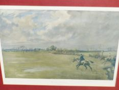 FOUR COLOUR PRINTS OF HUNT EVENTS AFTER LIONEL EDWARDS 39 x 52cmS. WITH TWO HAND COLOURED STEEPLE