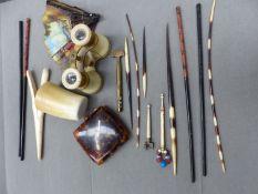 ANTIQUE OPERA GLASSES, GLOVE STRETCHER, QUILLS, HORN BEAKER AND A CIGARETTE CASE, ETC
