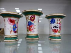 THREE HAND PAINTED AND GILDED VASES EARLY 19th CENTURY