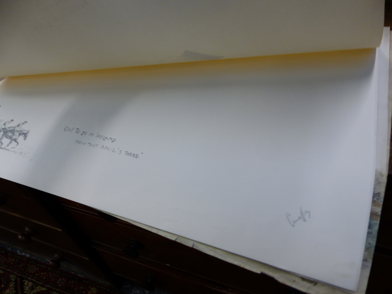 """FIVE PENCIL SIGNED SNAFFLES REMARQUE MOUNTS FOR THE IMAGE TITLES """"OH, TO BE IN IRELAND NOW THAT - Image 5 of 7"""