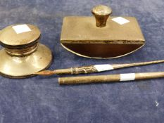 A HALLMARKED SILVER DESK BLOTTER, INK WELL AND TWO FOUNTAIN PENS