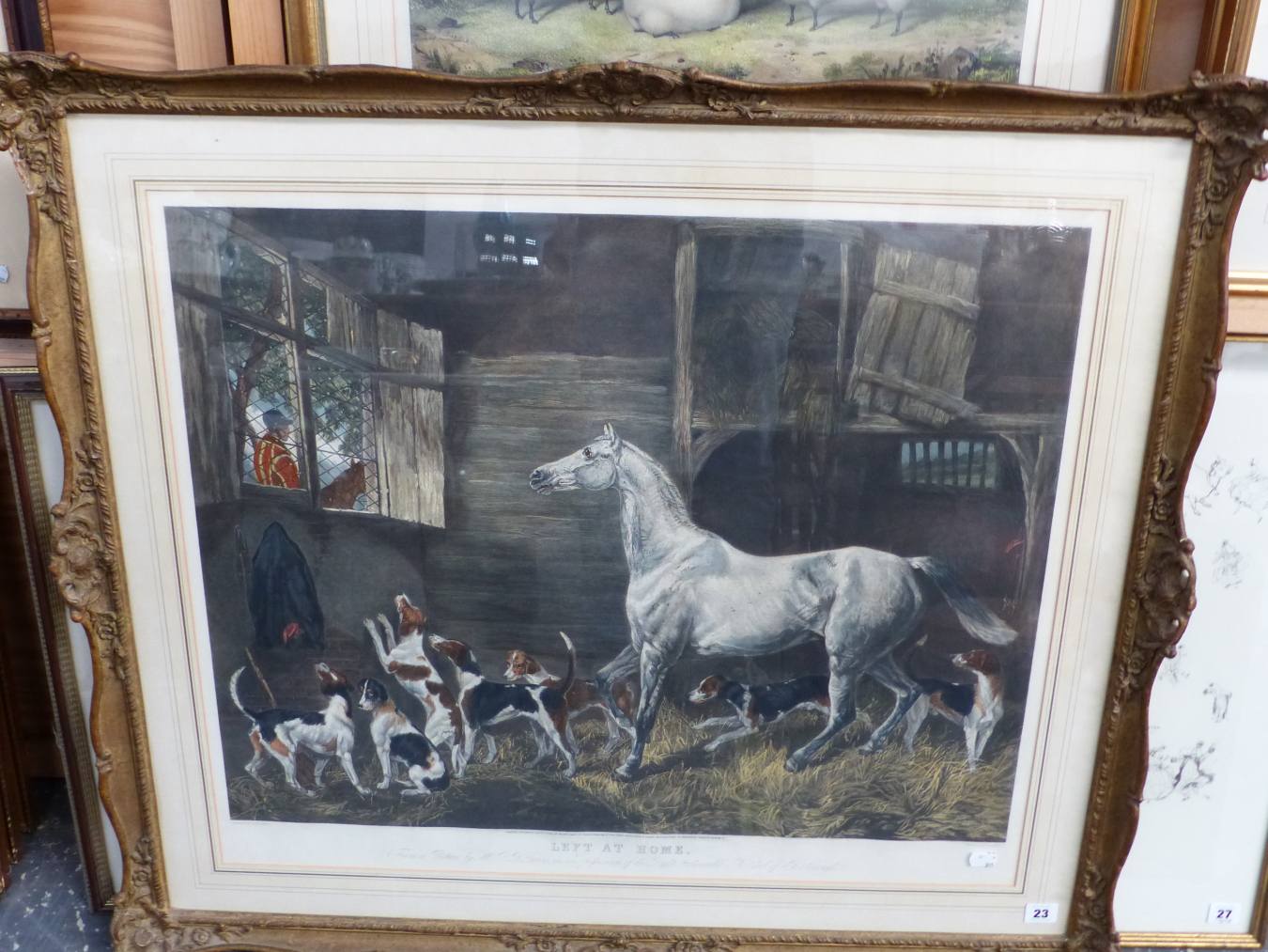"""AFTER R.B. DAVIS. A LARGE HAND COLOURED FOLIO PRINT. TITLED """"LEFT AT HOME"""". 64 x 77cms SWEPT GILT - Image 5 of 5"""