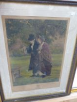 AFTER W. DENBY SANDLER. TWO HAND COLOURED PENCIL SIGNED PRINTS OF COUPLES IN GARDENS. 47 x 33cms (
