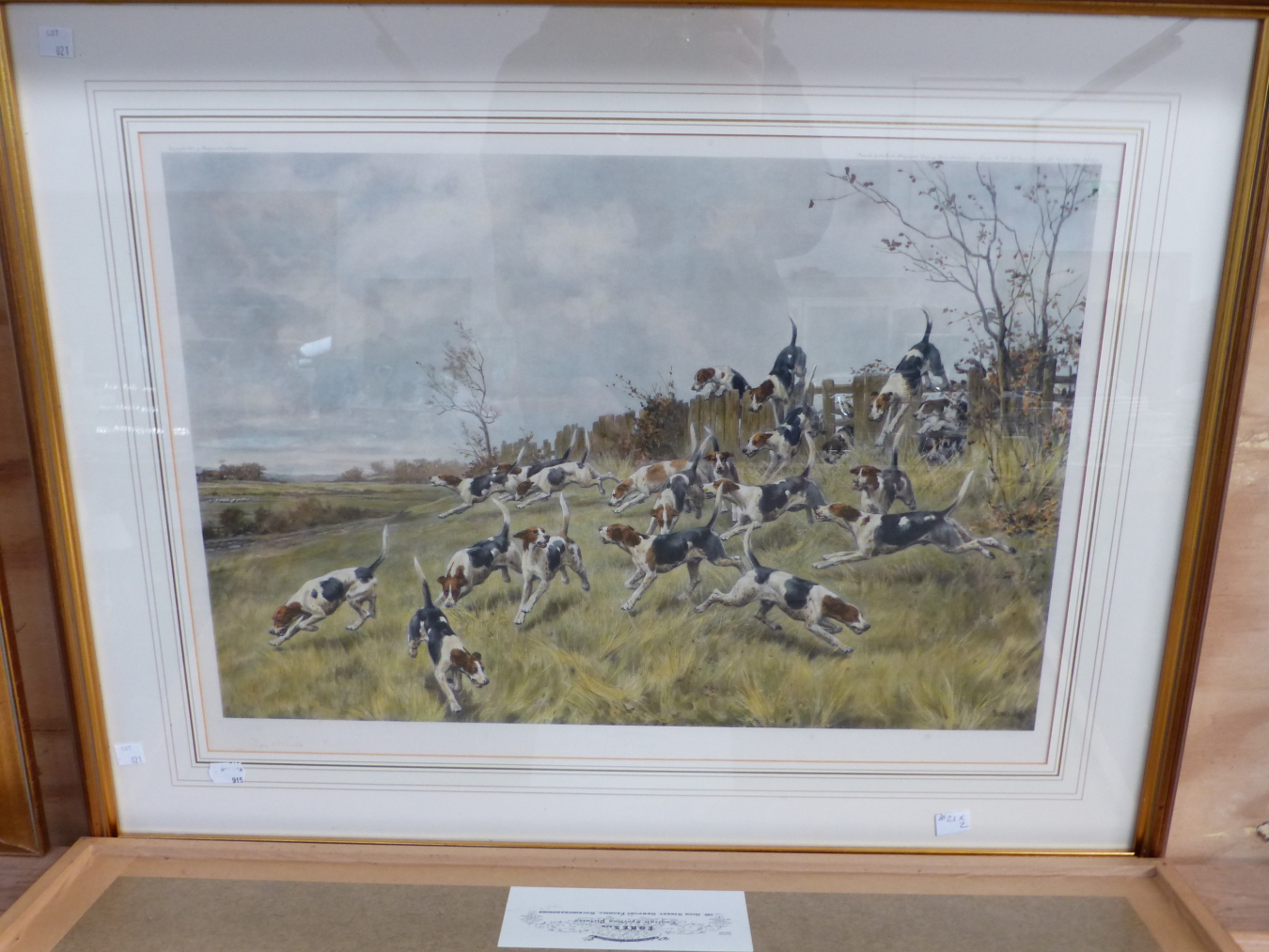 AFTER T BLINKS. TWO HAND COLOURED PRINTS OF FOX HOUNDS. 42 x 59cms (2) - Image 3 of 7