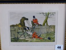TEN VINTAGE COLOUR PRINTS OF HUNTING AND SPORTING SUBJECTS IN HOGARTH FRAMES, SIZES VARY