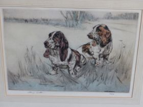 HENRY WILKINSON. THREE PENCIL SIGNED COLOUR ETCHINGS OF DOGS. TOGETHER WITH A PENCIL SIGNED