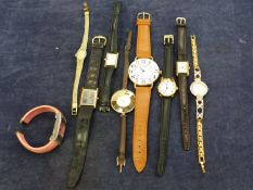 A QUANTITY OF WRIST WATCHES TO INCLUDE, A DIAMOND AND PASTE SET REGENCY WATCH, ACCURIST, ROTARY,