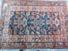 AN ANTIQUE PERSIAN HAMADAN RUG, 192 x 134cms