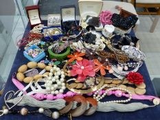 A LARGE QUANTITY OF COSTUME JEWELLERY, ORNATE HAIR SLIDES JEWELLERY BOXES ETC
