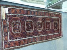 TWO ANTIQUE BELOUCH RUGS, 182 x 104 AND 214 x 101cms (2)