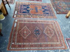 AN ANTIQUE PERSIAN AFSHAR RUG, 181 x 124cms TOGETHER WITH AN UNUSUAL ANTIQUE TRIBAL RUG, 191 x