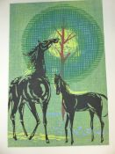 THREE 20th CENTURY JAPANESE WOODBLOCK PRINTS BY VARIOUS HANDS. A PENCIL SIGNED EXAMPLE OF HORSES.
