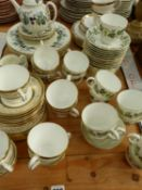 A WEDGWOOD PART TEA SERVICE, PATTERN SANTA CLARE, TOGETHER WITH A MINTON, ARAGON PATTERN PART TEA