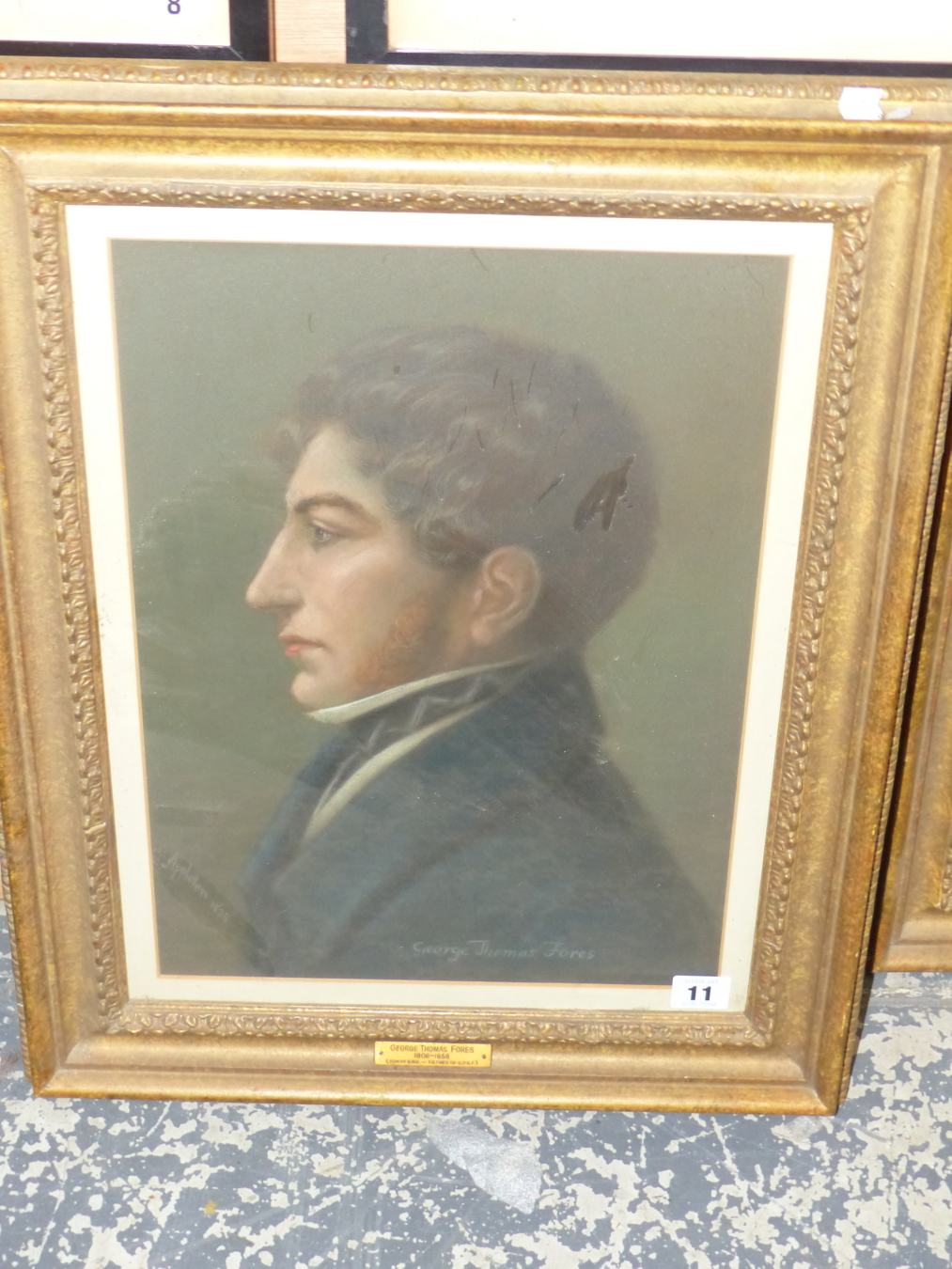 APPLETON? (19th CENTURY ENGLISH SCHOOL) PORTRAIT OF GEORGE THOMAS FORES 1808-1858. SIGNED AND - Image 2 of 5